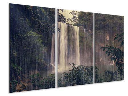 Metallic-Bild 3-teilig Wasserfall in Mexiko