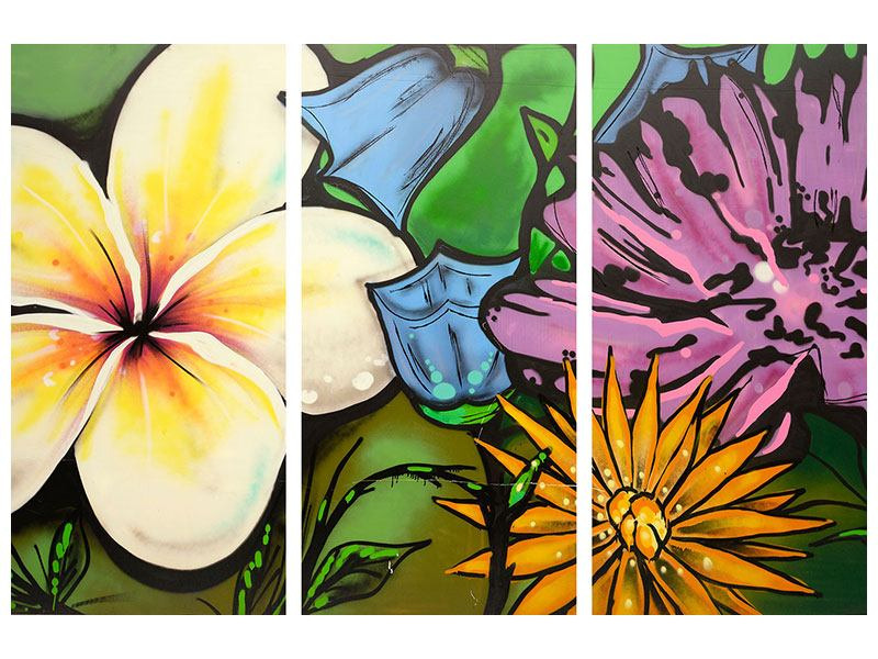 Metallic-Bild 3-teilig Graffiti Flowers