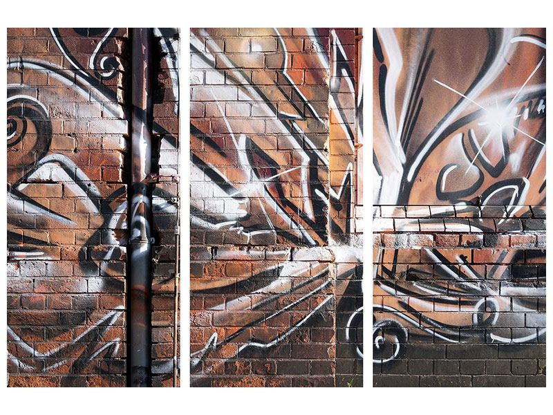 Metallic-Bild 3-teilig Graffiti Mauer