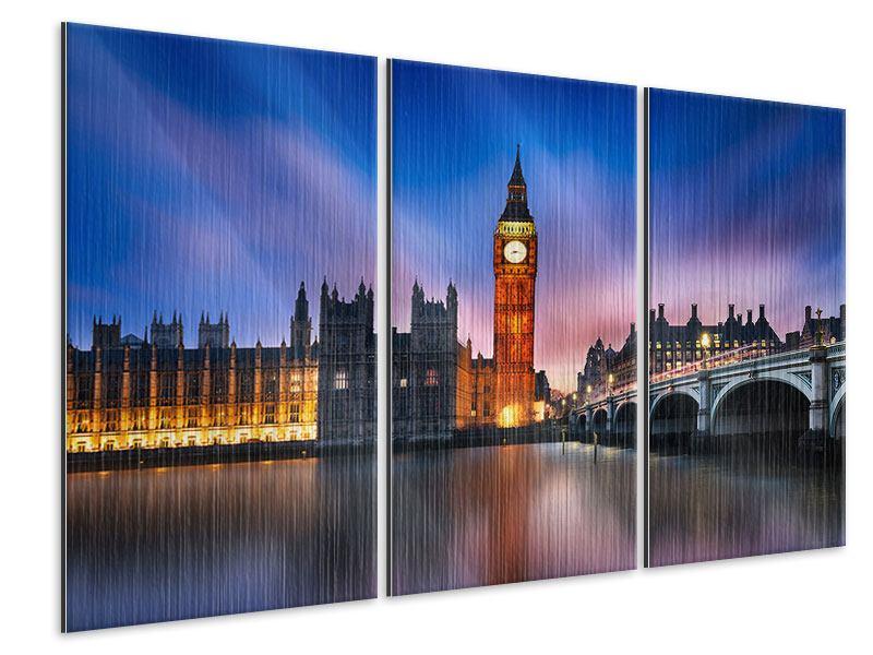 Metallic-Bild 3-teilig Nachts am Big Ben