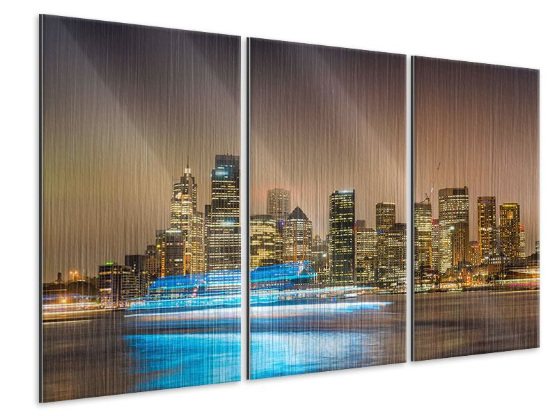 Metallic-Bild 3-teilig Skyline Sydney im Lichtermeer