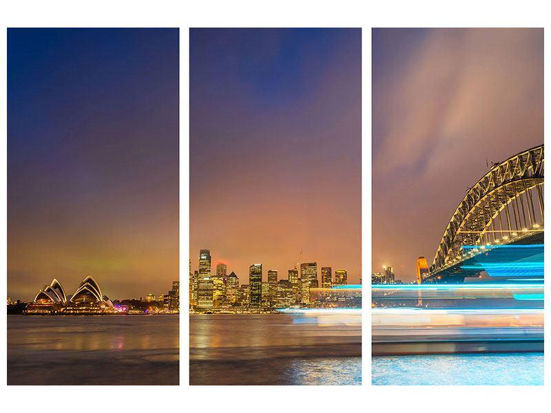 Metallic-Bild 3-teilig Skyline Opera House in Sydney im Abendlicht