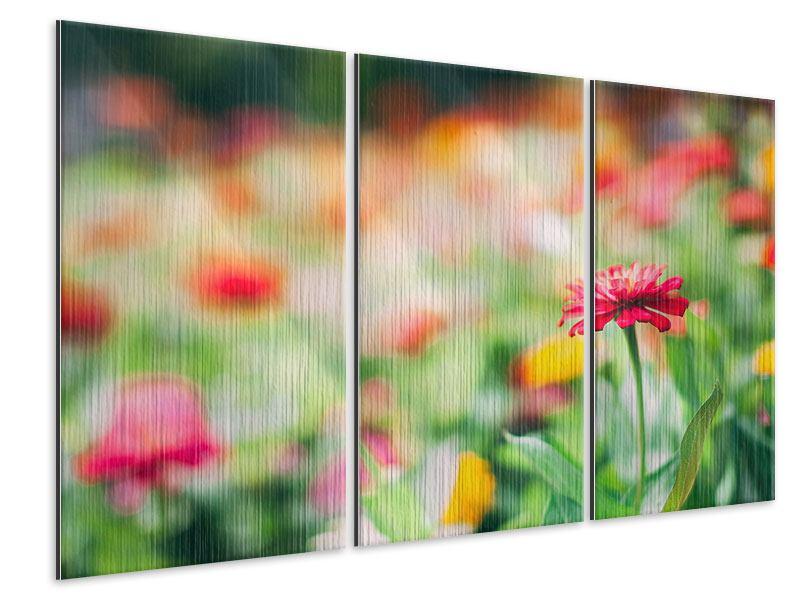Metallic-Bild 3-teilig Im Blumengarten