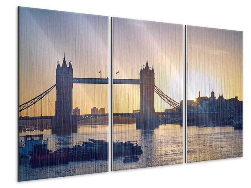 metallic bild 3 teilig tower bridge bei sonnenuntergang. Black Bedroom Furniture Sets. Home Design Ideas