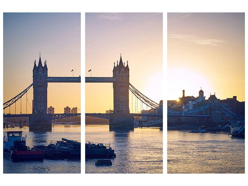 Metallic-Bild 3-teilig Tower Bridge bei Sonnenuntergang