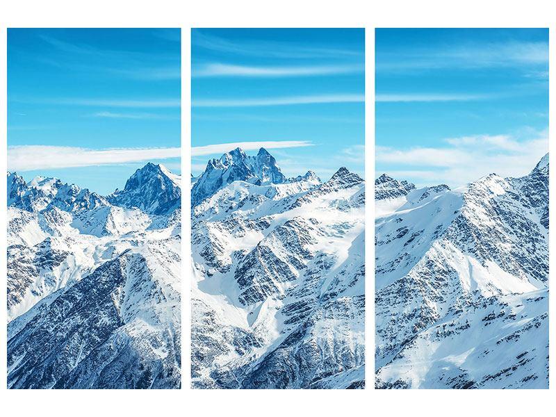 Metallic-Bild 3-teilig Alpenpanorama