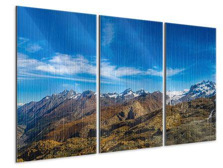 Metallic-Bild 3-teilig Schweizer Alpen im Frühling