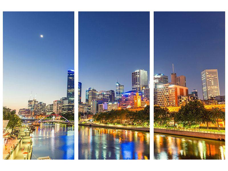 Metallic-Bild 3-teilig Skyline Sydney in der Abenddämmerung