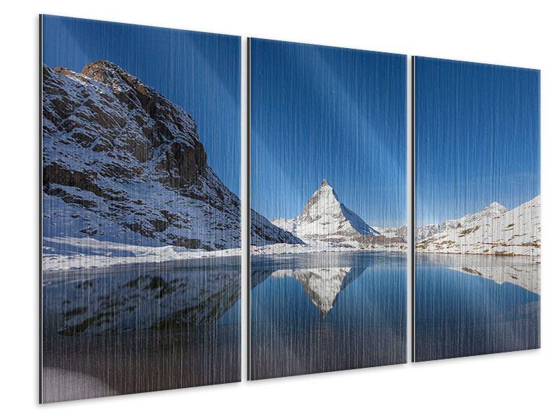Metallic-Bild 3-teilig Der Riffelsee am Matterhorn