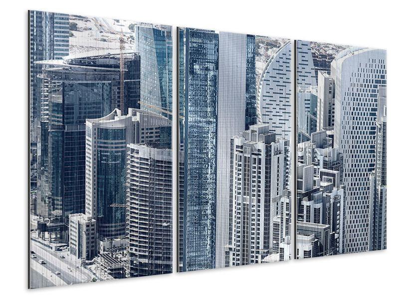 Metallic-Bild 3-teilig Die Wolkenkratzer von Dubai