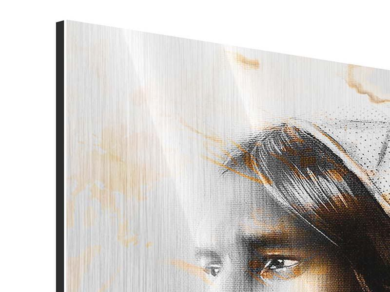 Metallic-Bild 3-teilig Kunstvolles Indianer-Portrait