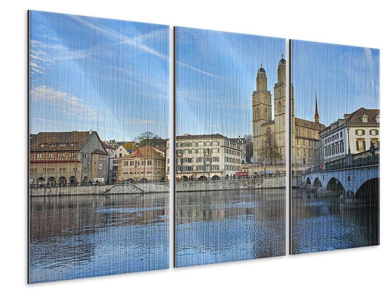 Metallic-Bild 3-teilig Die Altstadt von Zürich