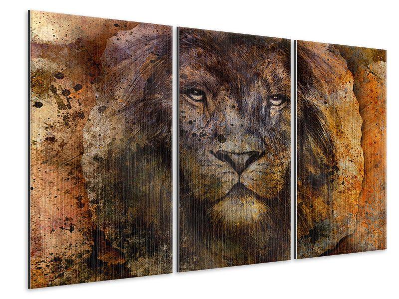 Metallic-Bild 3-teilig Portrait eines Löwen