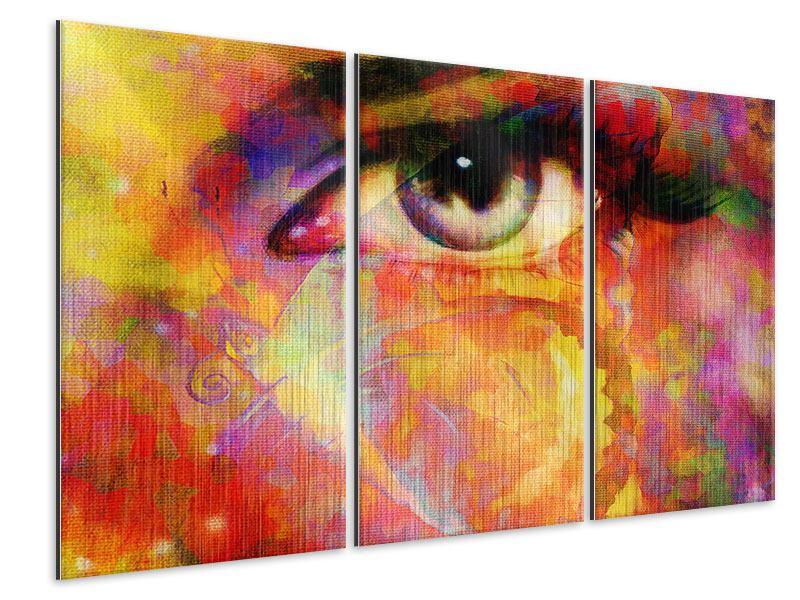 Metallic-Bild 3-teilig Das Auge