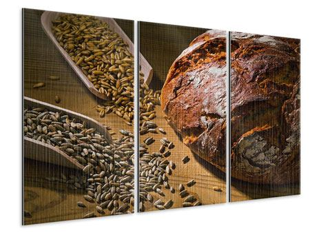 Metallic-Bild 3-teilig Das Brot