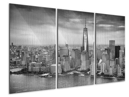 Metallic-Bild 3-teilig Skyline Schwarzweissfotografie New York