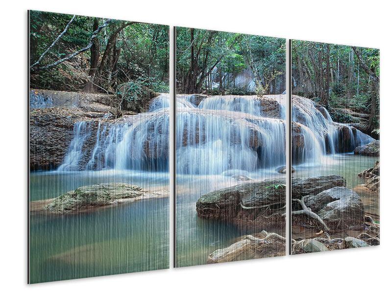 Metallic-Bild 3-teilig Ein Wasserfall