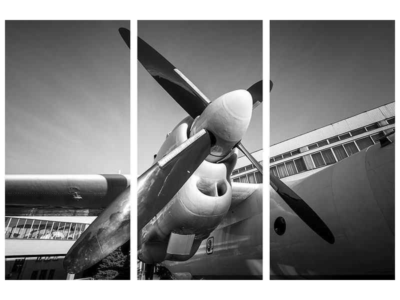 Metallic-Bild 3-teilig Nostalgisches Flugzeug