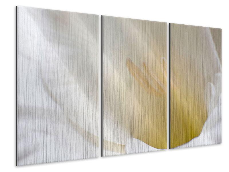 Metallic-Bild 3-teilig In einer Blüte