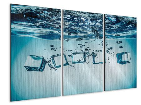 Metallic-Bild 3-teilig Eiswürfel-Quadro