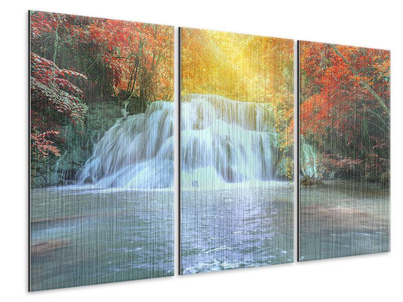 Metallic-Bild 3-teilig Wasserfall im Licht