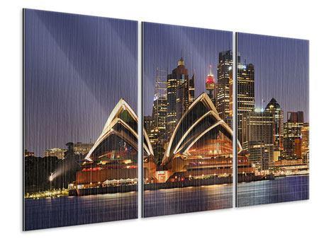Metallic-Bild 3-teilig Skyline Mit dem Boot vor Sydney