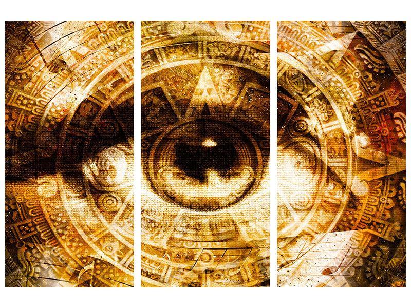 Metallic-Bild 3-teilig Fraktales Auge