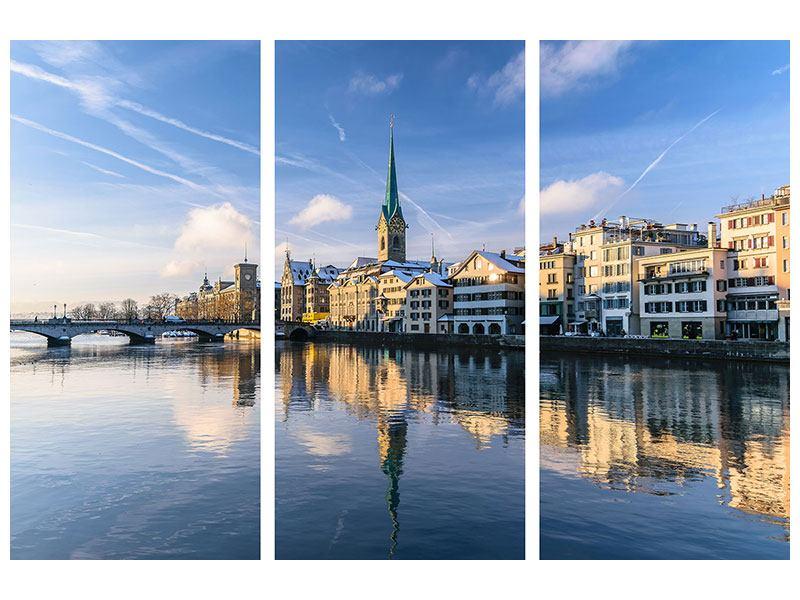 Metallic-Bild 3-teilig Zürich