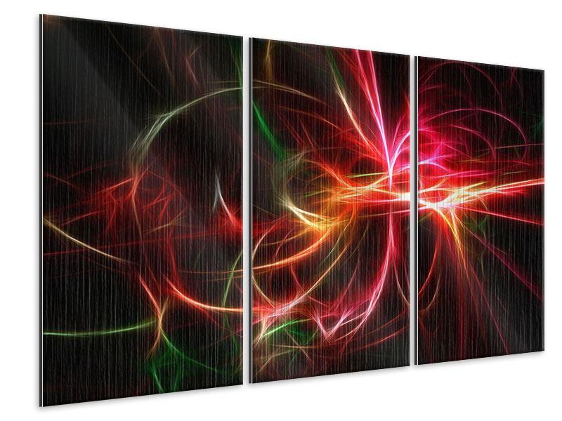 Metallic-Bild 3-teilig Fraktales Lichtspektakel