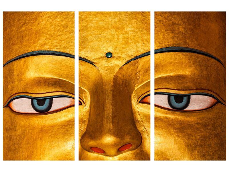 Metallic-Bild 3-teilig Die Augen eines Buddhas