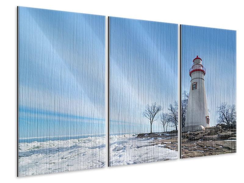 Metallic-Bild 3-teilig Leuchtturm im Schnee