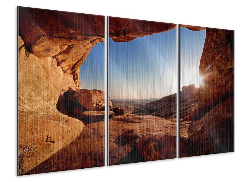 Metallic-Bild 3-teilig Sonnenuntergang vor der Höhle