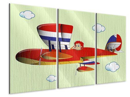 Metallic-Bild 3-teilig Der fliegende Junge