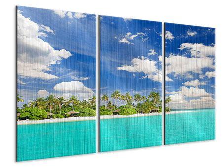 Metallic-Bild 3-teilig Meine Insel
