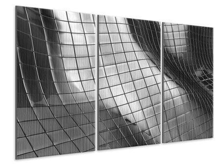 Metallic-Bild 3-teilig Abstrakter Stahl