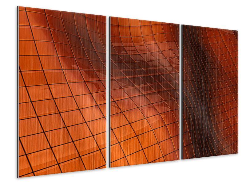 Metallic-Bild 3-teilig 3D-Kacheln