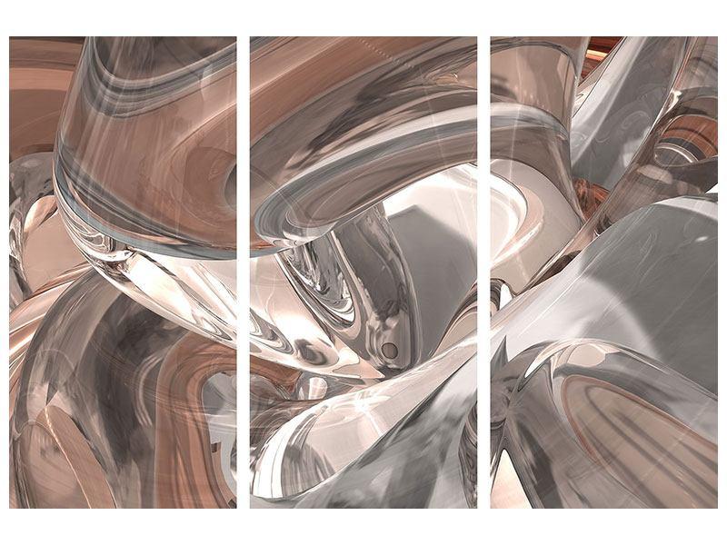 Metallic-Bild 3-teilig Abstraktes Glasfliessen