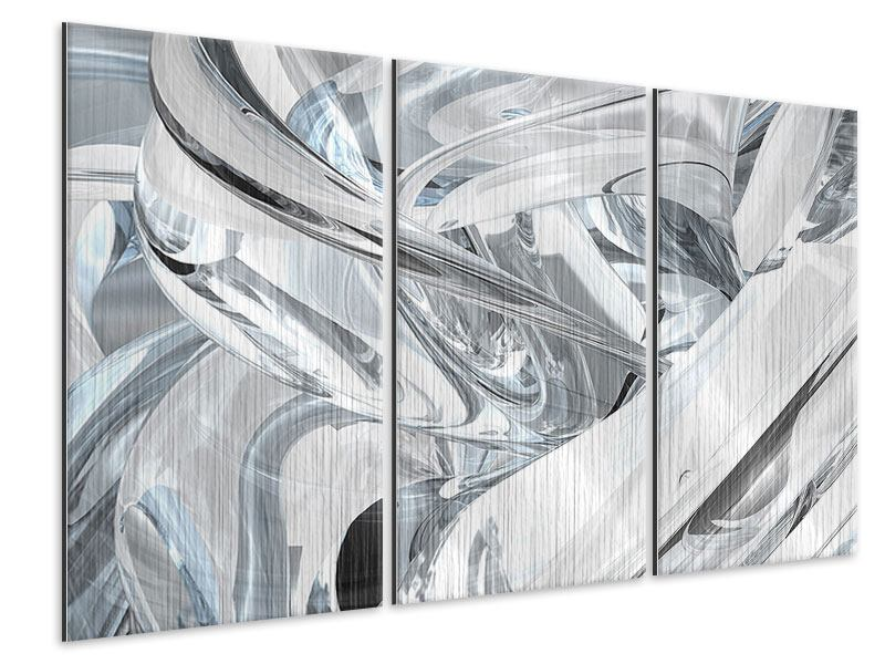 Metallic-Bild 3-teilig Abstrakte Glasbahnen
