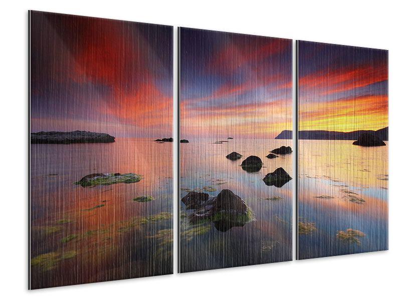 Metallic-Bild 3-teilig Ein Sonnenuntergang am Meer