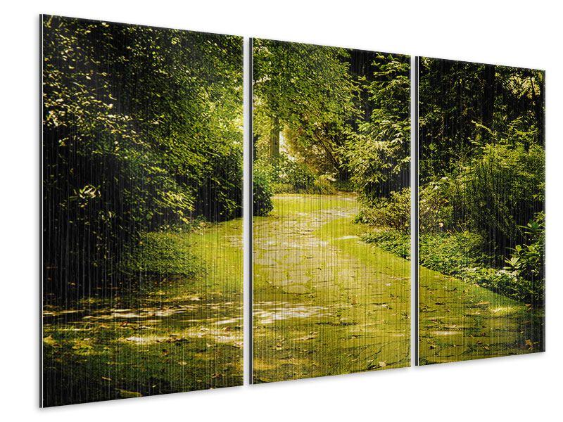 Metallic-Bild 3-teilig Der bemooste Weg