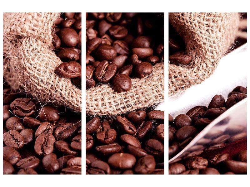 Metallic-Bild 3-teilig XXL Kaffeebohnen