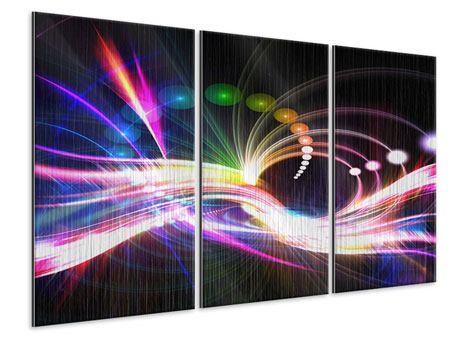 Metallic-Bild 3-teilig Abstrakte Lichtreflexe
