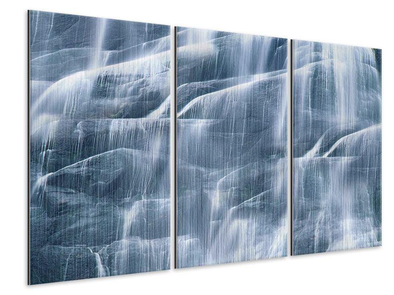 Metallic-Bild 3-teilig Grossartiger Wasserfall