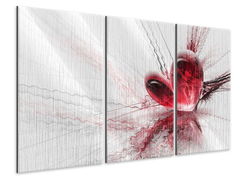 Metallic-Bild 3-teilig Herzspiegelung