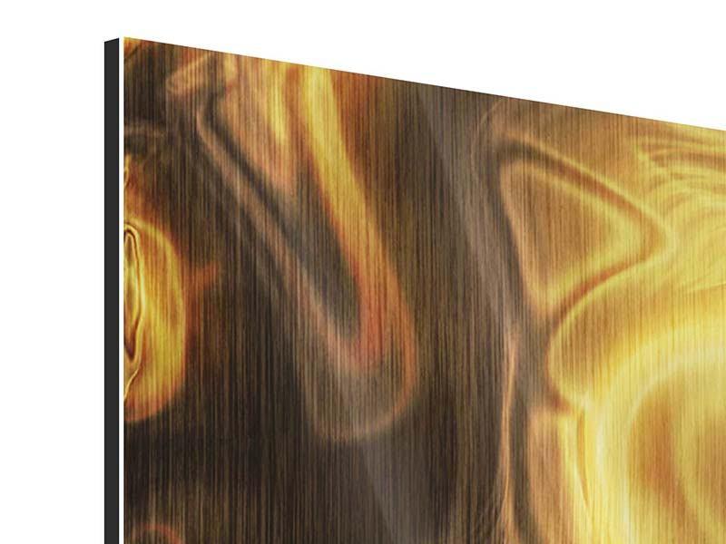 Metallic-Bild 3-teilig Abstrakt Flüssiges Gold