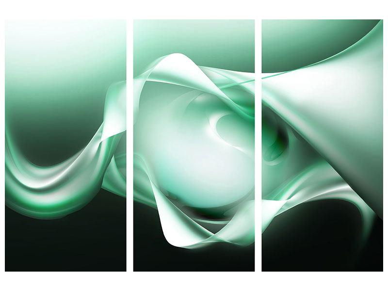Metallic-Bild 3-teilig Abstrakt Tuchfühlung