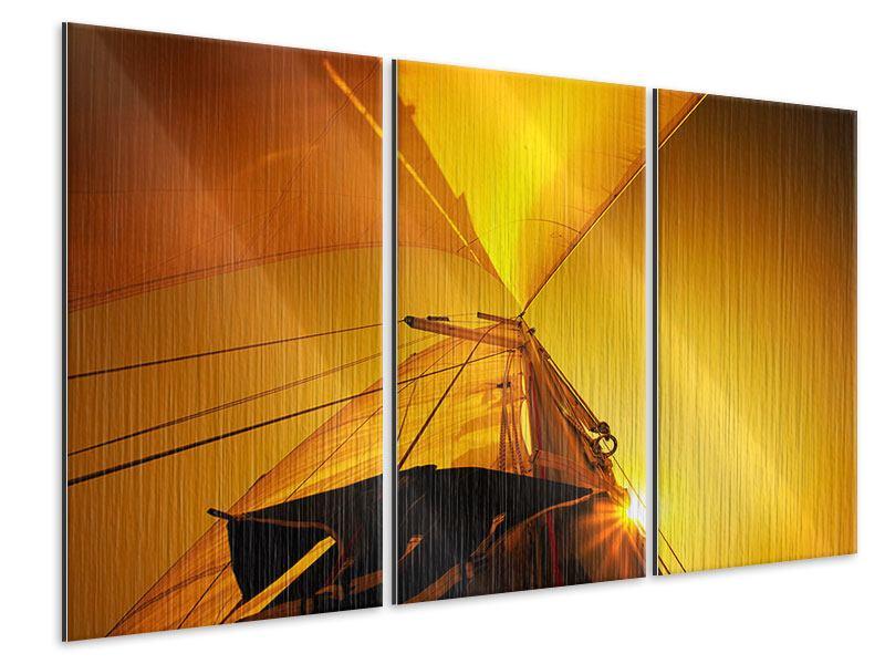Metallic-Bild 3-teilig Segelboot im Sonnenuntergang