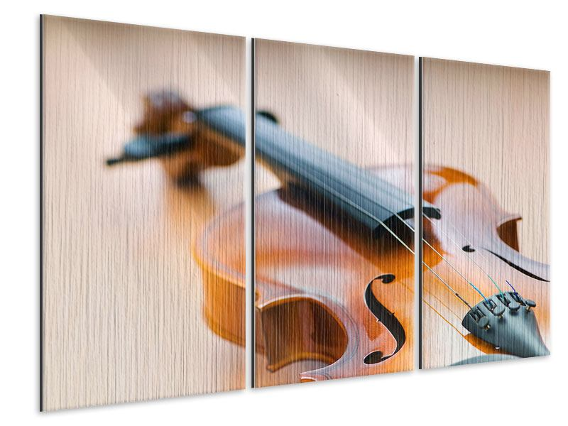 Metallic-Bild 3-teilig Geige