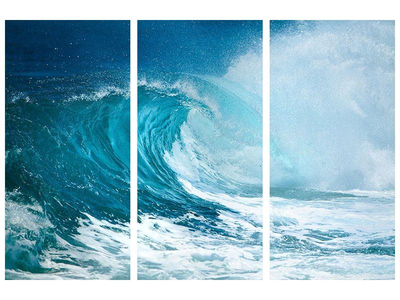Metallic-Bild 3-teilig Die perfekte Welle