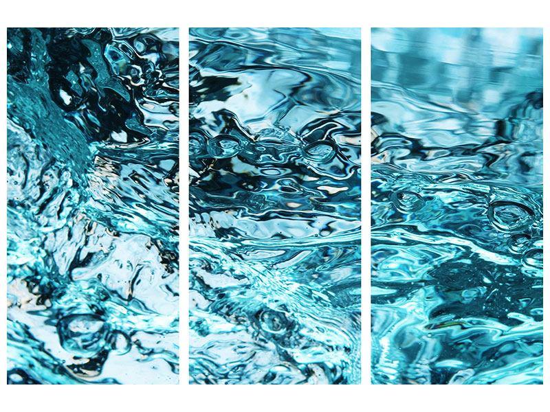 Metallic-Bild 3-teilig Schönheit Wasser